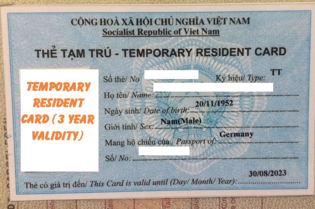 Temporary resident card for spouses and children of Vietnamese nationals